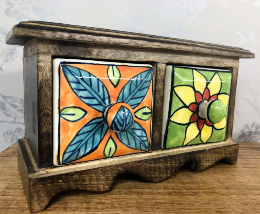 Bright Flower Dark Wood Hand Crafted Small 2 Ceramic Drawer Jewellery | Trinket Storage
